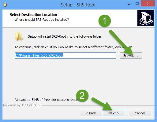 Select Destination Folder SRS Root