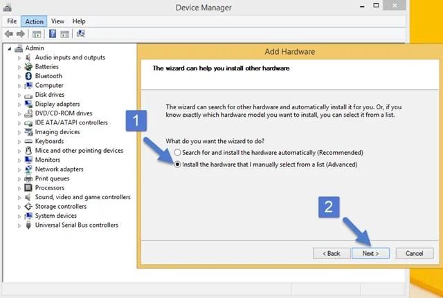 Advanced Option Add Legacy Hardware