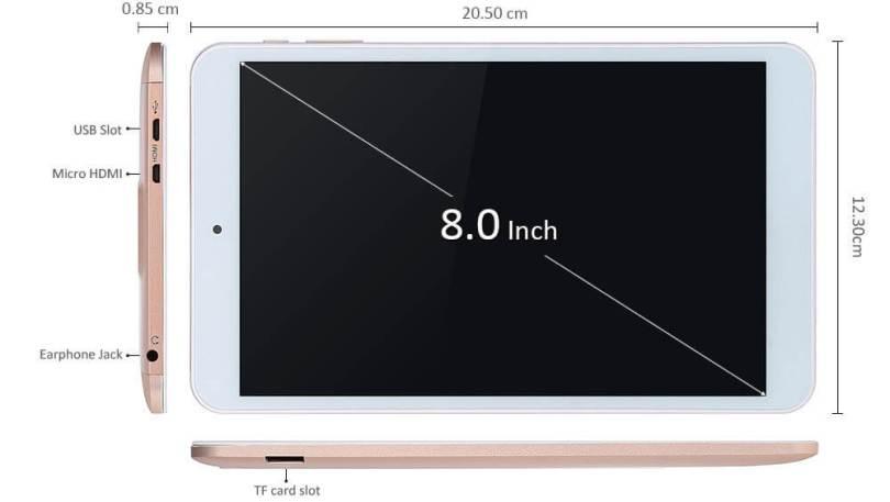 Screen size of Onda V80 Plus