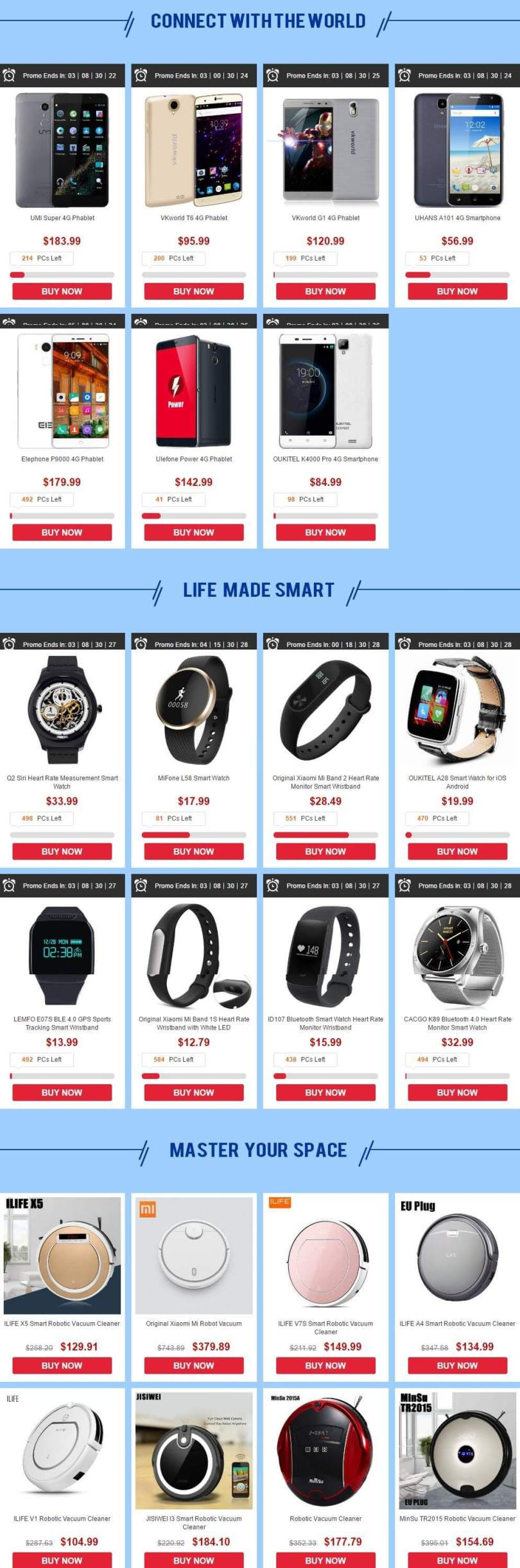 Gearbest's In Harmony With Tech Sale Product list