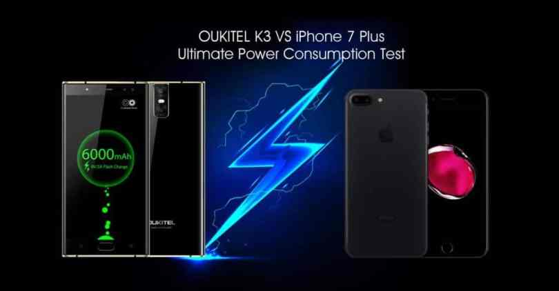 OUKITEL K3 VS iPhone 7 plus power consumption