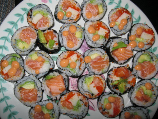 Celebratory homemade sushi for lunch