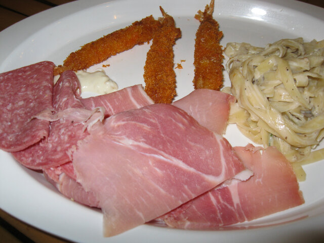 Prosciutto, salami, and fried shrimp