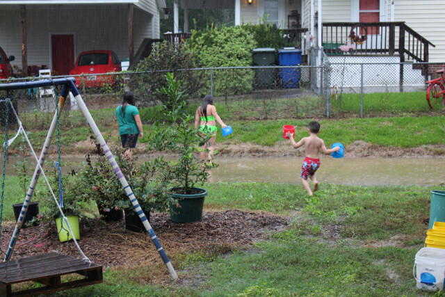On the bright side, the kids got to play in a hurricane!