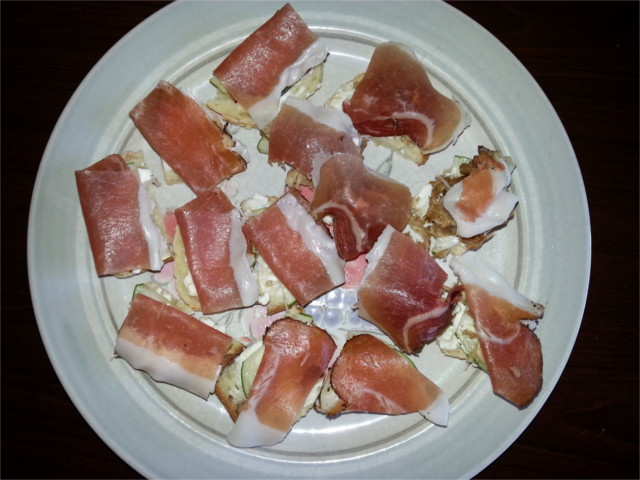 Some of that prosciutto and mascarpone gracing the tops of some day old ciabatta bread. Mmm... discount good eats.