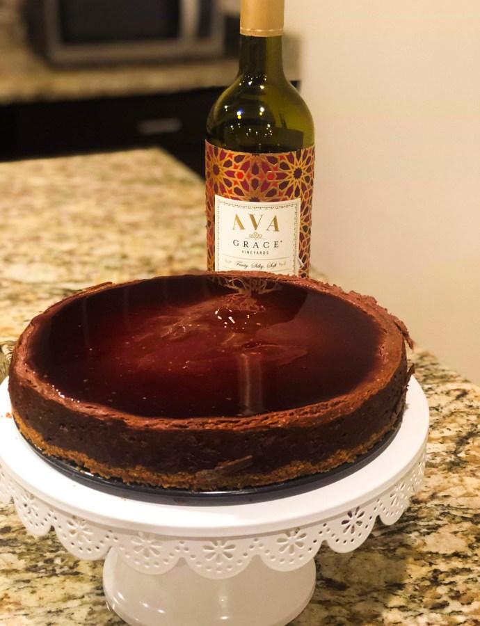 Eggless Merlot Chocolate Cheesecake
