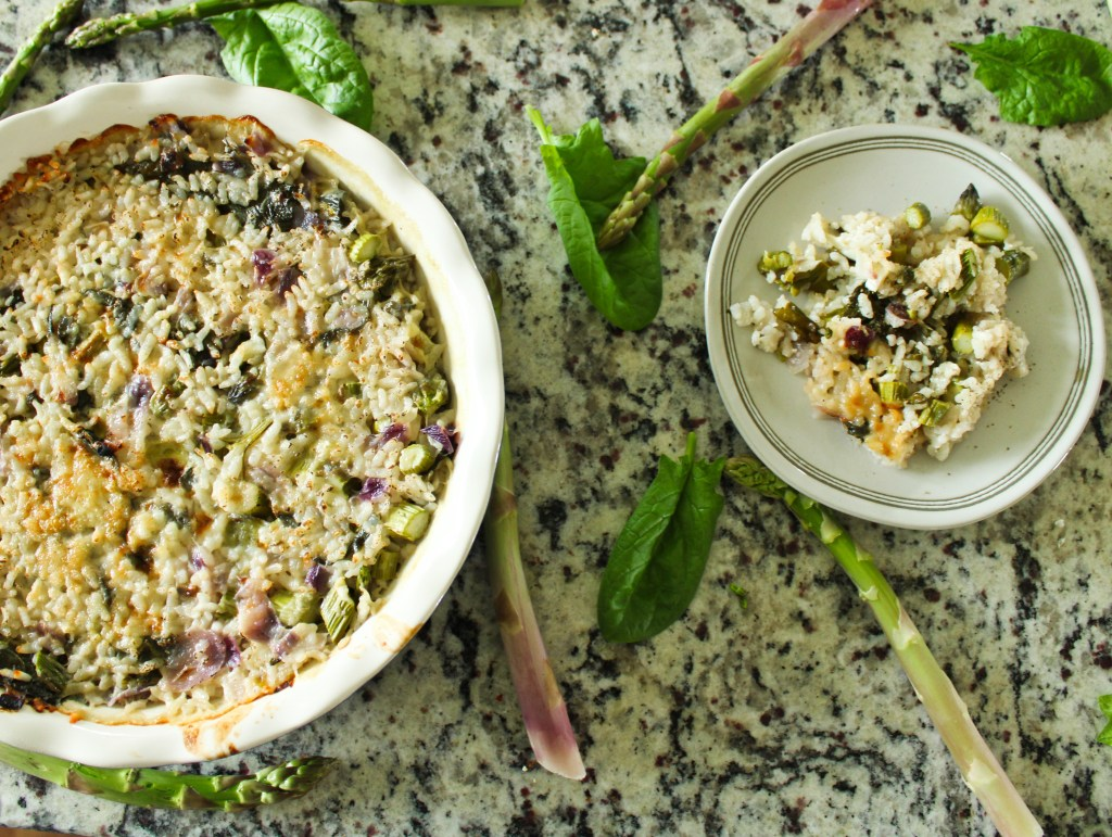 Baked spinach asparagus risotto