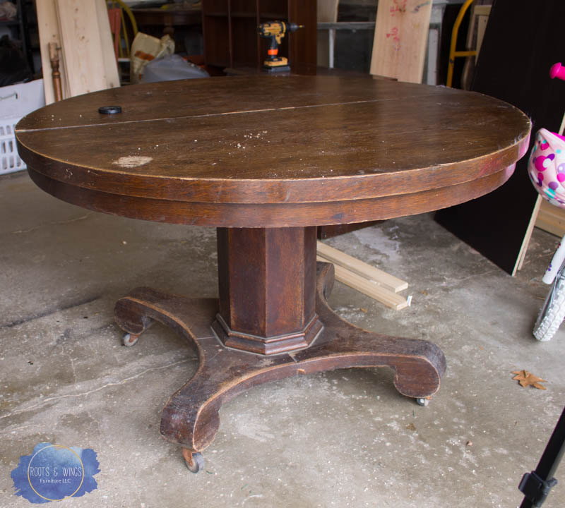 pedestal kitchen table how to build a outdoor makeover roots wings furniture llc wobbly tables drive me nuts our for eat in had been re worked several times but crack the base made it wobble like crazy