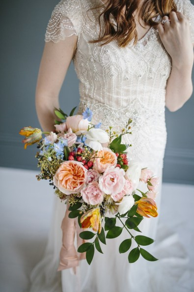 A styled shoot bouquet by Roots Floral Design. Photo by Emilie Ann Photography