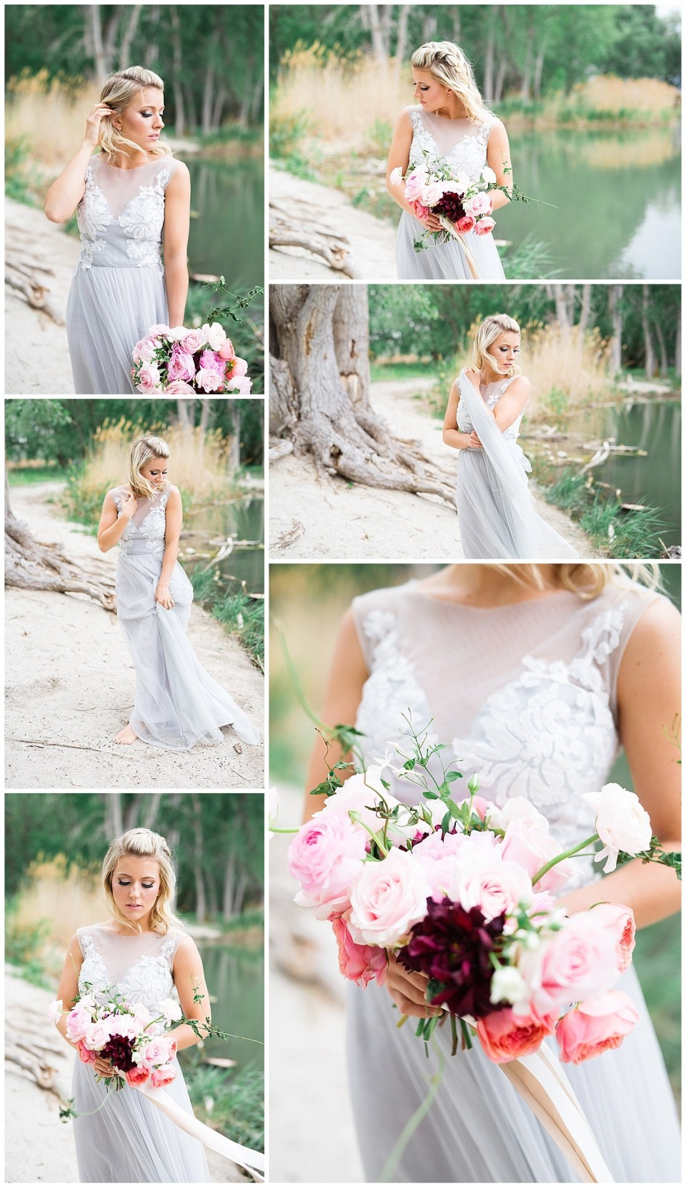 Lakeside Elopement Tulle Wedding Dress