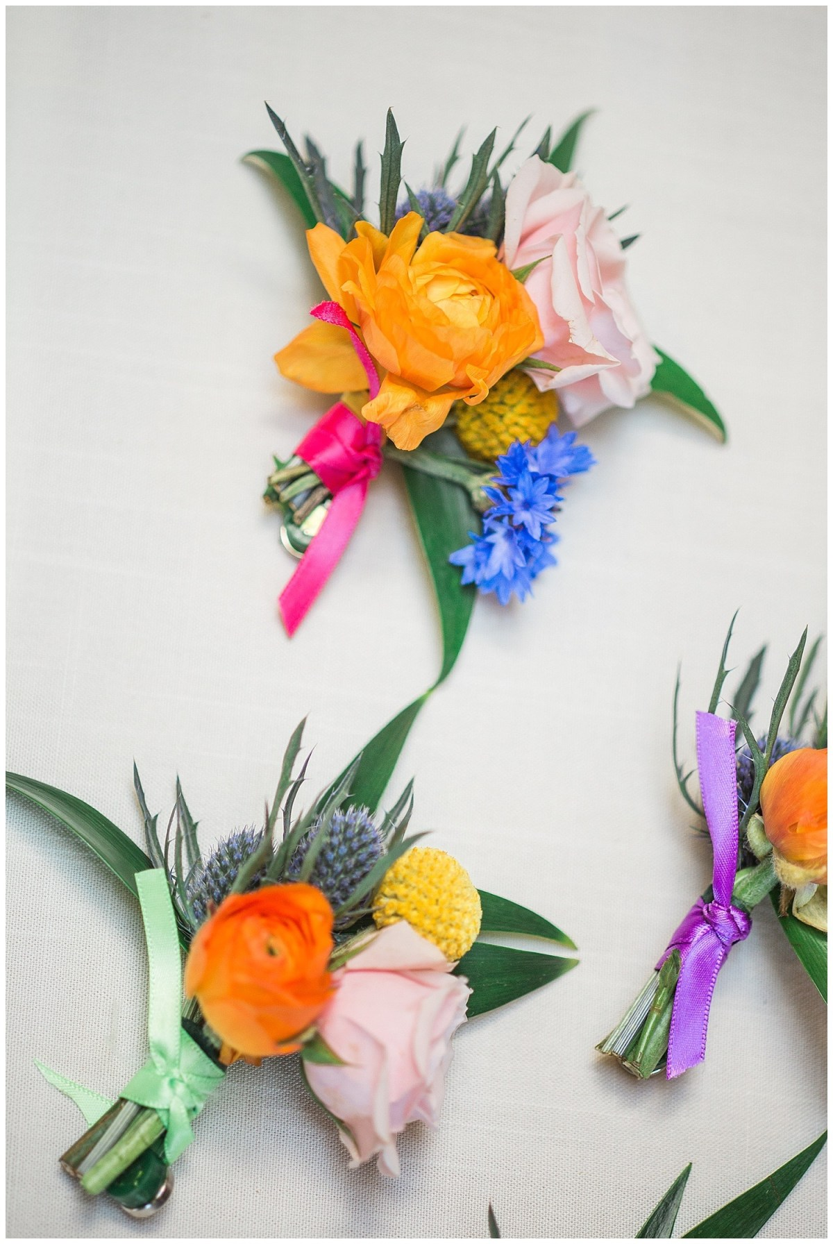 Colorful Boutonniere Summer Wedding