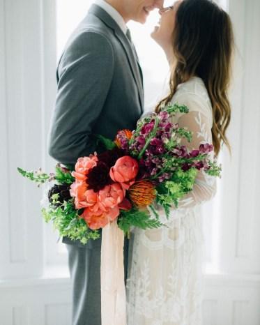 spring peony wedding bouquet