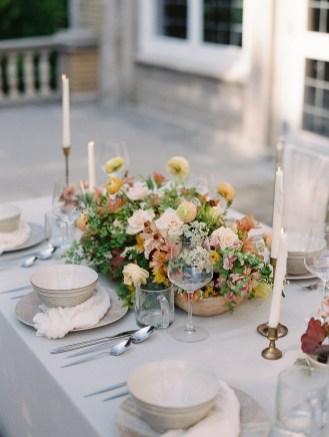 laurel hall wedding, laurel hall indiana, jenny haas, centerpiece, spring flowers, ranunculus, maiden fern, fine art bride