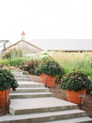 A concrete staircase lined with potted plants leads to the reception barn at Yew Dell Botanical Gardens, a wedding venue in Kentucky