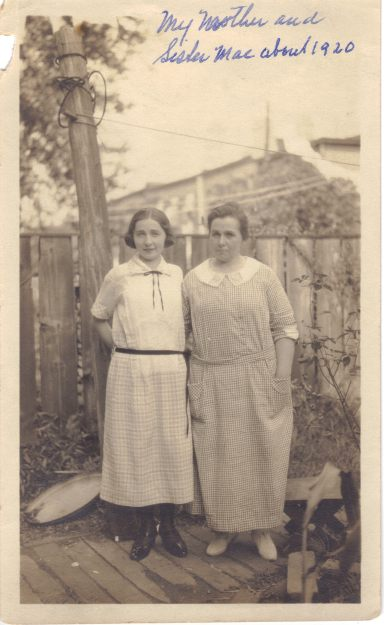 Mae and Anna Thomas, circa 1920, probably in Brooklyn