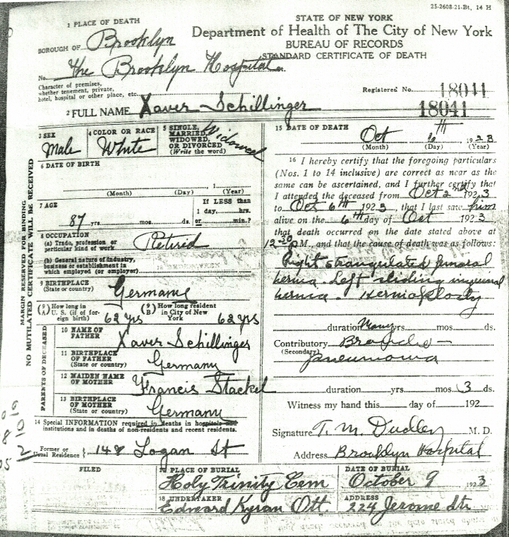 Xaver Schillinger's Death Certificate | Roots of Kinship