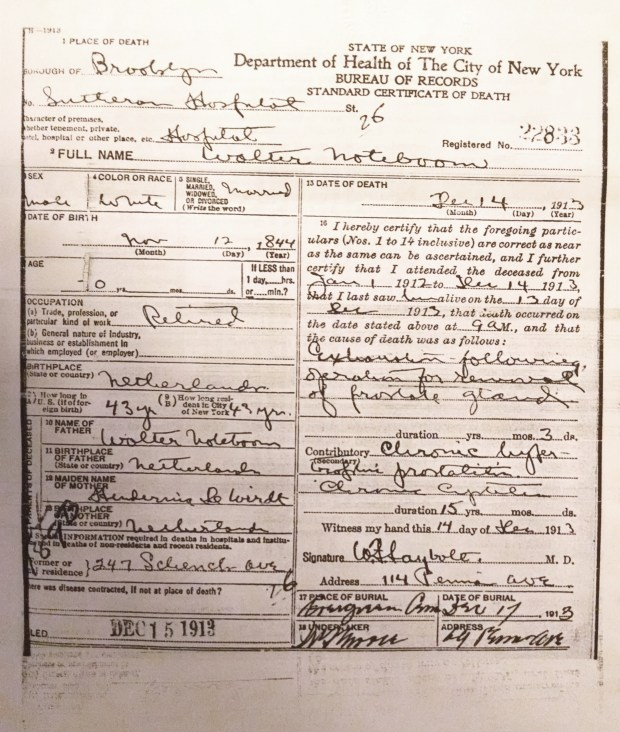 Walter Noteboom Death Certification, NYC Municipal Archives Image ©Larisa Thomas, Roots of Kinship