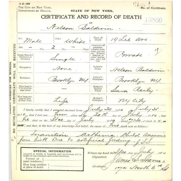 Nelson Baldwin Jr. Death Certificate