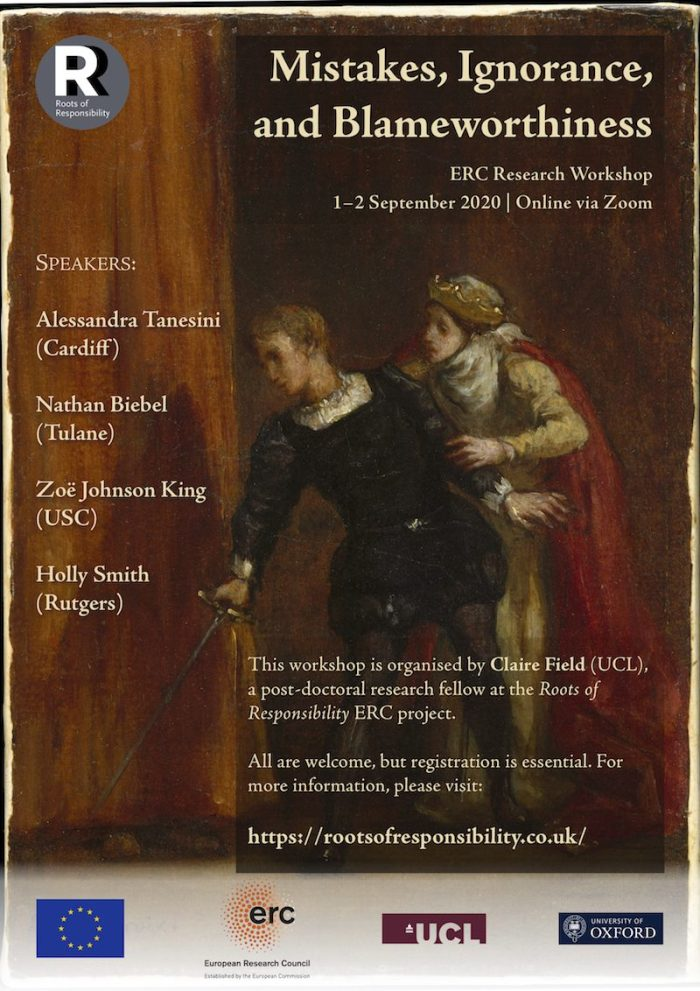 Poster for the workshop on mistakes, ignorance, and blameworthiness