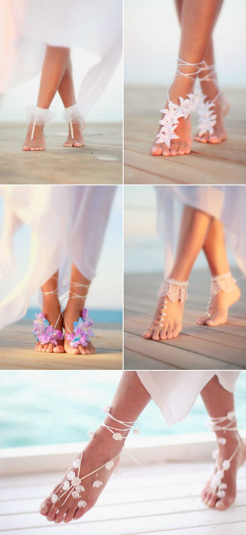 Gorgeous Wedding Barefoot Sandals For Beach Wedding Party  roowedding