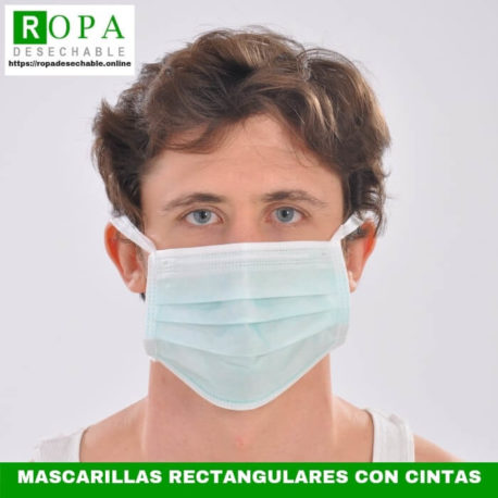 Mascarillas rectangulares con cintas