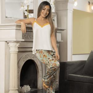 pijama-satin-verde-amarillo-flores-mujer