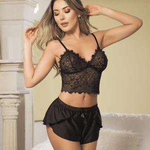 pijama-croptop-encaje-satin-mujer