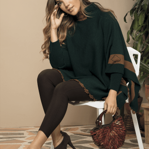 ruana-mujer-cuello-tortuga-mangas-verde-cafe-perfil