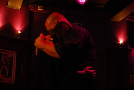 WykD Dave & Clover embracing after an emotional shibari session