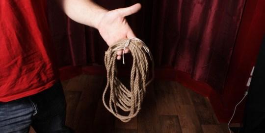 Shibari rope coiled for treatment