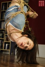 Nina Russ in inverted suspension shibari bondage from WykD Dave Photography by Clover