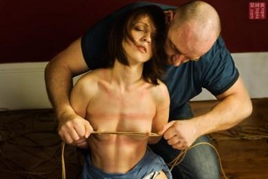 Nina Russ, rope marks & nipple torture shibari bondage session Photography by Clover
