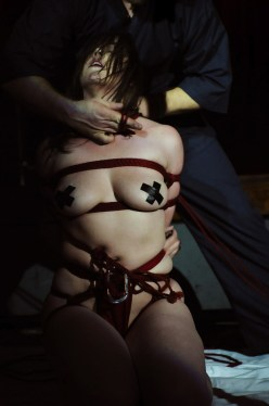 Shibari red rope Clover deep from hard bondage suspension