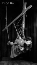 Flying in suspension bondage. (Model hay, Photographer clover)