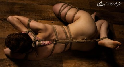 Shibari floorwork. prayer hands to foot