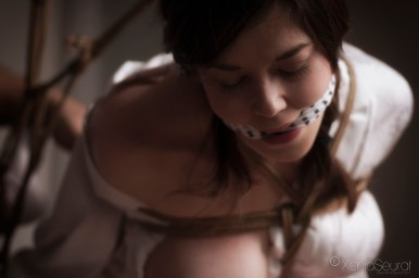 Shibari bondage and tenugui gag