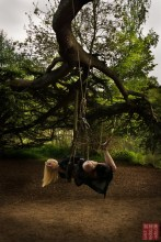 Outdoor shibari suspension from tree, kimono