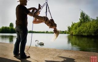 Sunshine outdoor Shibari suspension bondage