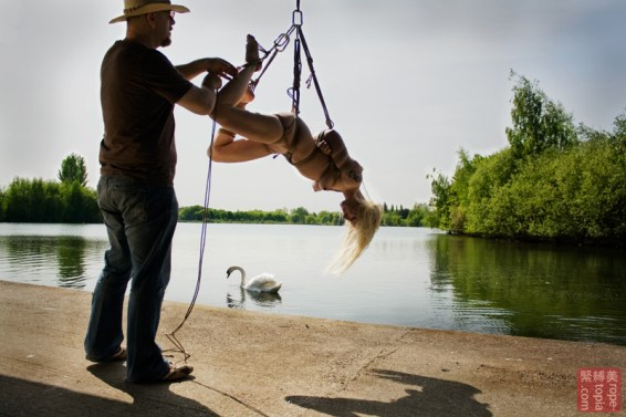 Sunshine outdoor Shibari suspension bondage
