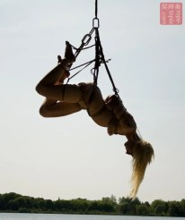 Sunset outdoor Shibari suspension bondage
