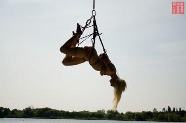 Sunset outdoor Shibari suspension bondage