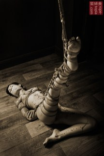 Floor bondage partial suspension leg bondage.