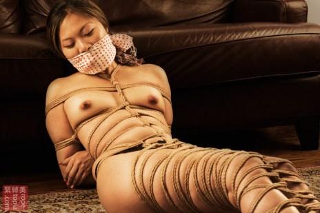 Asian Bella. Gag, tenugui, full body bondage