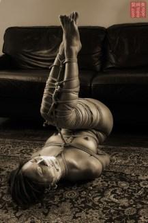 Asian Bella. gote shibari floor bondage leg tie.