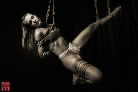 Shibari suspension bondage face up