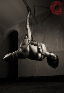 Exposing harsh shibari rope bondage suspension