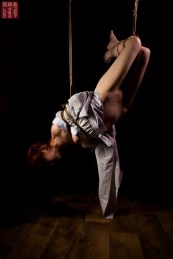 Inverted suspension bondages, shibari.