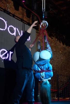 Shibari bondage performance at Bondage Expo Dallas at the Church Dallas in 2016. Lingerie and drop in transitions.