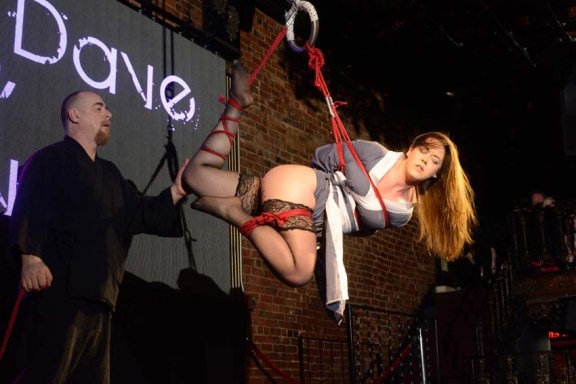 Shibari bondage performance at Bondage Expo Dallas at the Church Dallas in 2016. Lingerie and drop in transitions.