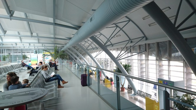 Brno's beautiful yet very compact modern airport.